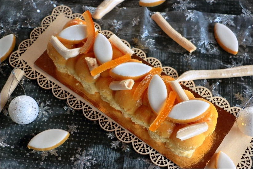 buche noel glacée meringue orange