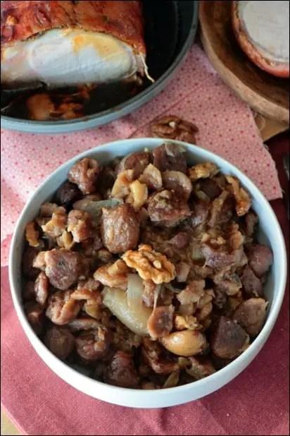 poêlée de marrons aux échalotes et noix