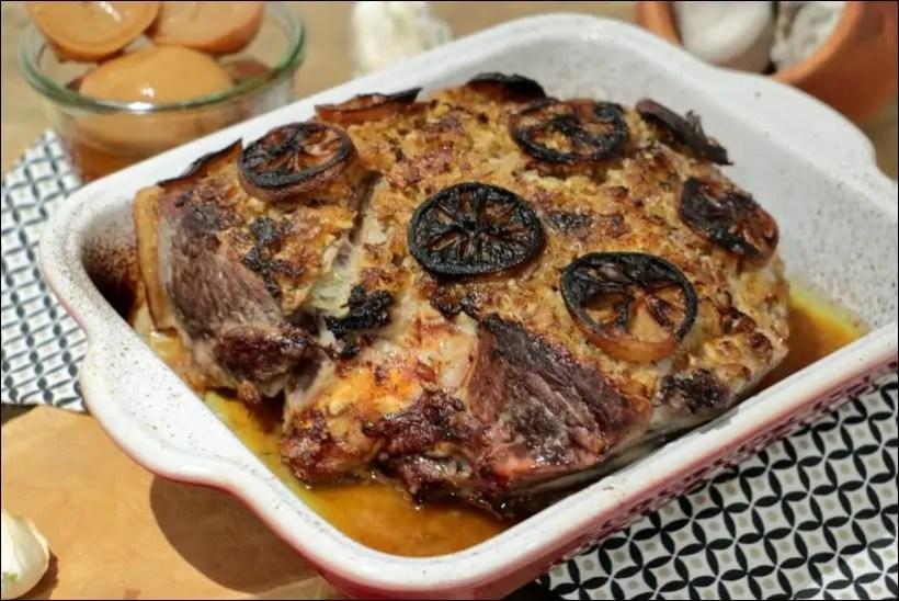 rouelle de porc marinée