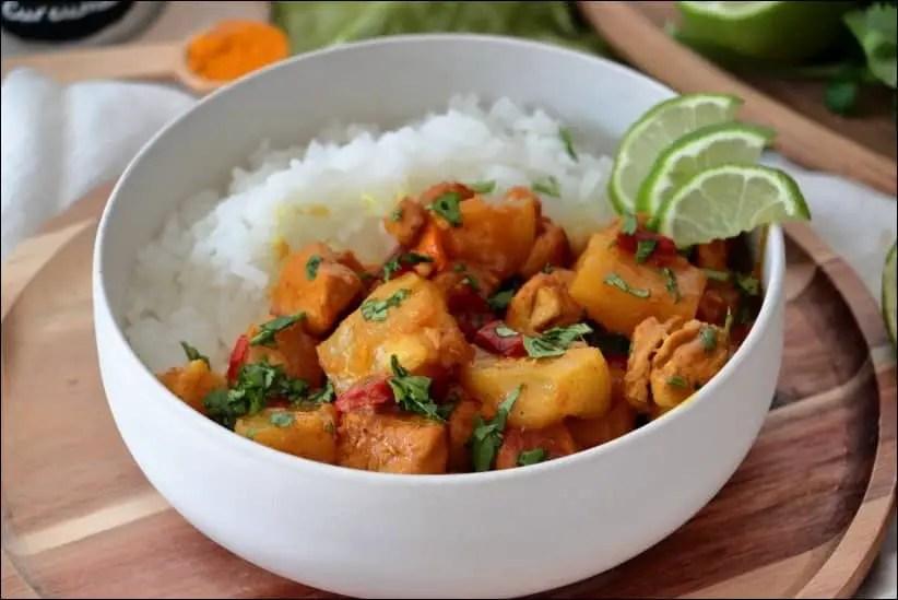 curry poulet ananas lait de coco