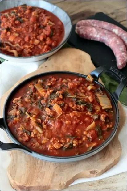 fricot de blettes à la tomate et chair à saucisse