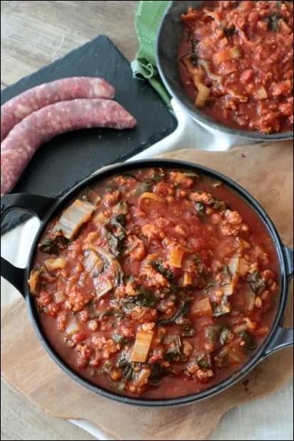 blettes tomate et chair à saucisse