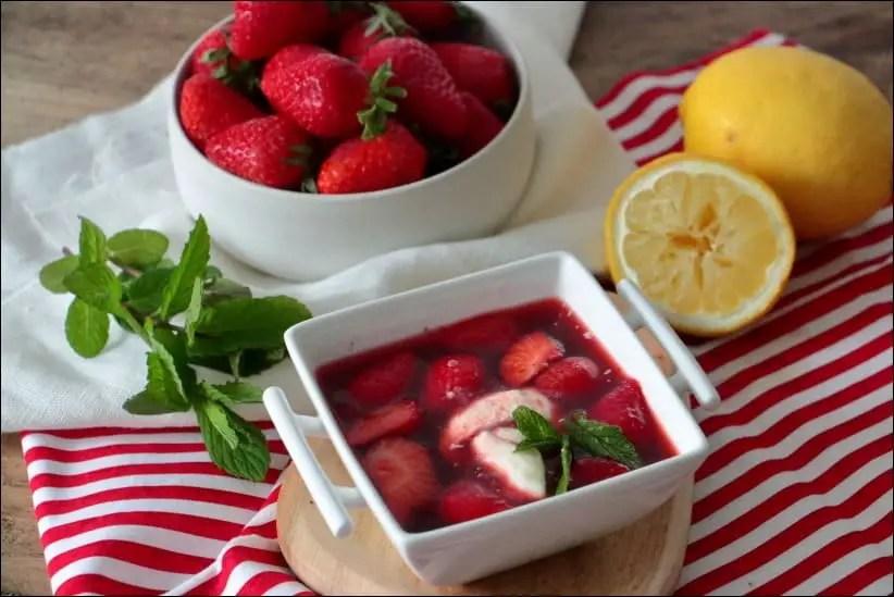 soupe fraise citron menthe