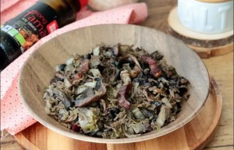 chou chinois mijoté aux champignons
