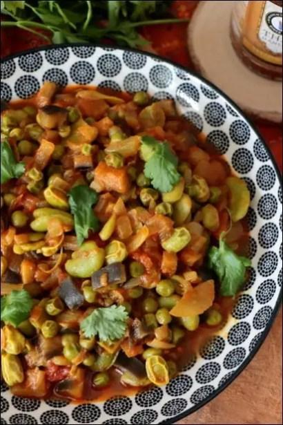 petit pois et fèves sauce curry