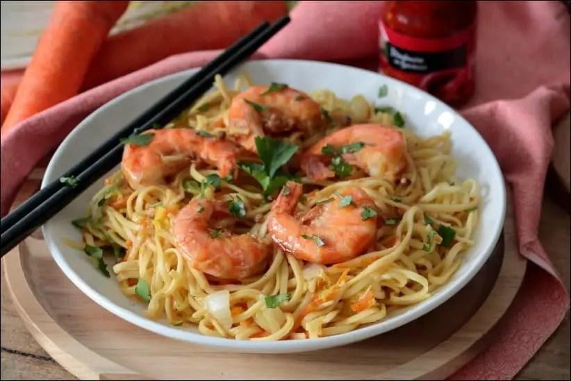 wok crevettes chou chinois carotte