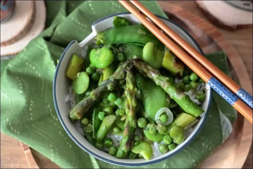 wok pois mange tout petits pois asperges