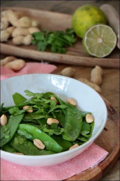 salade pois mange-tout coriandre thai