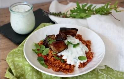 boulghour à la tomate aubergines et yaourt citronné de Yotam Ottolenghi