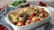 riz au four aux tomates confites et à l'ail de Yotam Ottolenghi
