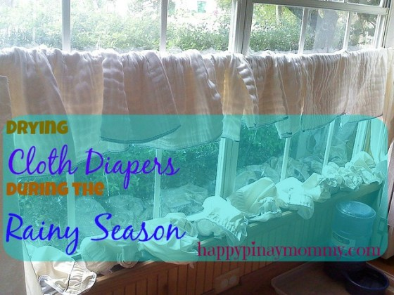 drying cloth diapers during the rainy season