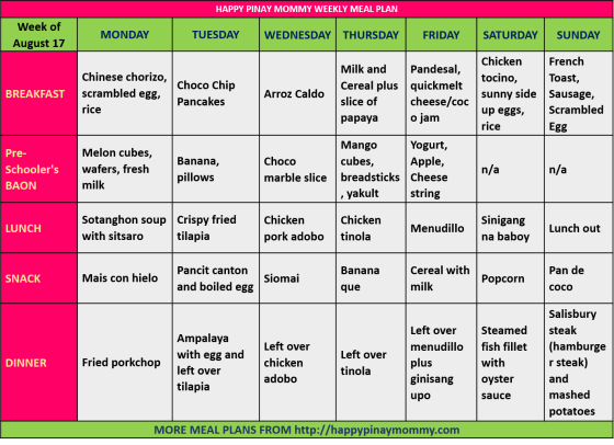 Happy Pinay Mommy Weekly Meal Plan Aug 17-24