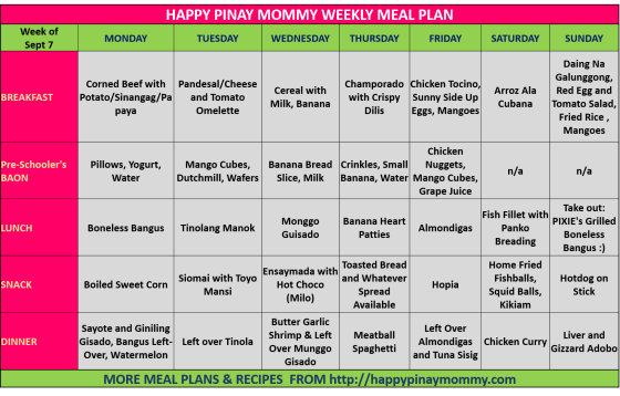 Happy Pinay Mommy Weekly Meal Plan for Sept 7-14