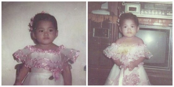 Little Grace: These photos were taken when Mommy Grace was three years old. Told her we had the same flower girl gown. hahaha.
