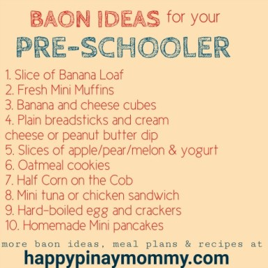 Baon Ideas for Filipino Kids Pre schooler baon