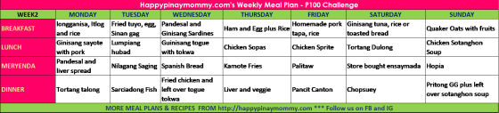Month Long P100 00 Weekly Filipino Budget Meal Plan Challenge Happy Pinay Mommy