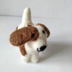 felt brown and white puppy