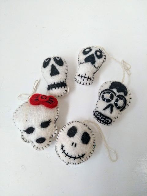 felt day of the dead heads set