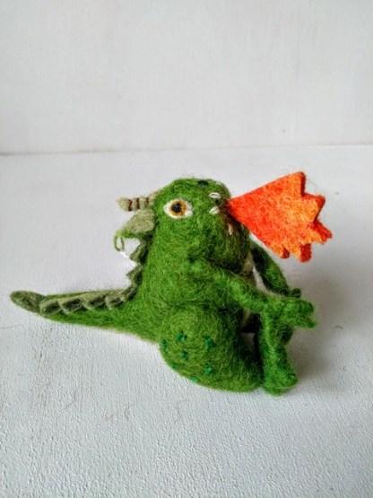 felt dragon green