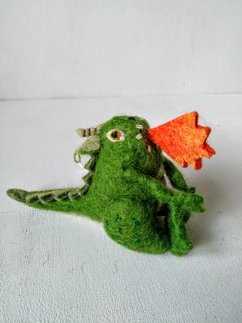 felt dragon green