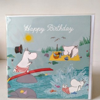 moomin swimming birthday card