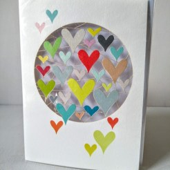 multi coloured heart card