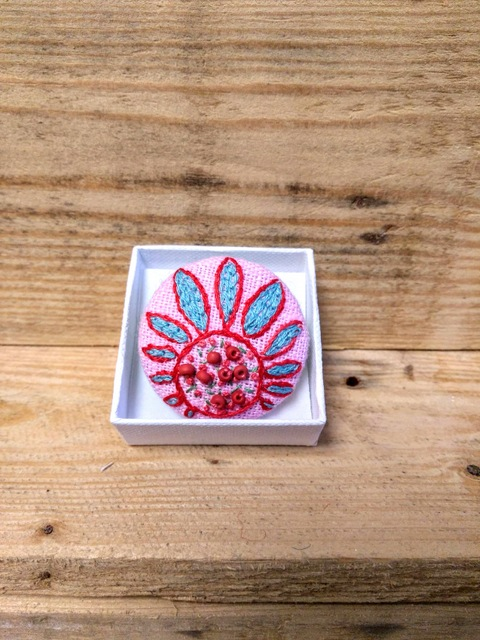 pink floral brooch