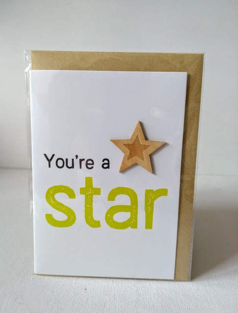 wooden star card