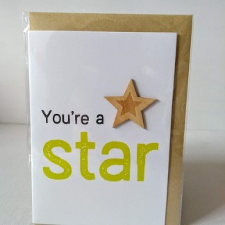 wooden star card