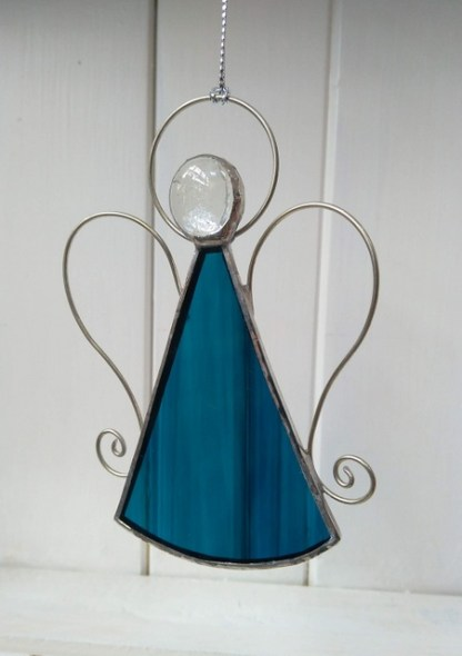 blue stained glass angel