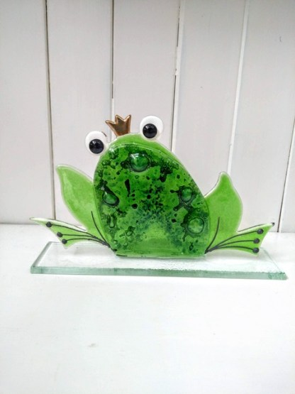 fused glass frog large