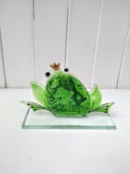 fused glass frog small