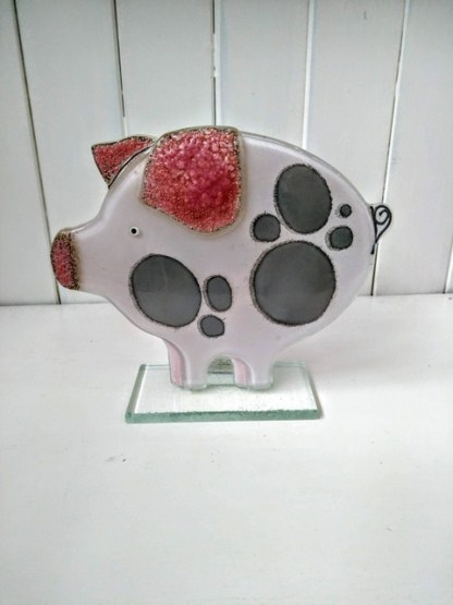 fused glass pig pink