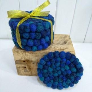 blue felt coasters