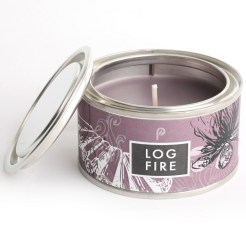 log fire candle