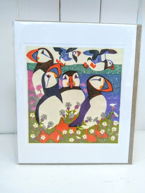 puffin woodcut card