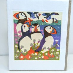puffin woodcut card