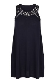 Αμάνικο μπλε mini φόρεμα με δαντέλα στο ντεκολτέ