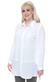 Ασύμμετρη λευκή πουκαμίσα με διαφανείς λεπτομέρειες
