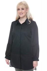 Ασύμμετρη μαύρη πουκαμίσα με διαφανείς λεπτομέρειες
