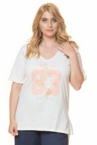 Ασύμμετρο εκρού μπλουζοφόρεμα με τύπωμα 83
