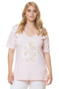 Ασύμμετρο ροζ μπλουζοφόρεμα με τύπωμα 83