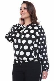 Μαύρο bomber jacket με polka dot print
