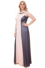 Maxi μπλε/πούδρα φόρεμα με halter-neck
