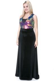 Maxi φόρεμα velvet με μπούστο παγέτα
