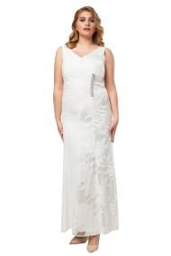 Φόρεμα maxi με δαντέλα και στρας σε λευκό χρώμα