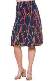 Ελαστική μπλε φούστα με σχέδιο αλυσίδες