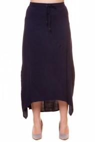 Maxi φούστα με ασύμμετρο τελείωμα σε μπλε χρώμα