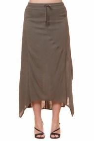 Maxi φούστα με ασύμμετρο τελείωμα σε χακί χρώμα