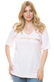 Hi-lo ροζ μπλούζα με τύπωμα I'm still fabulous